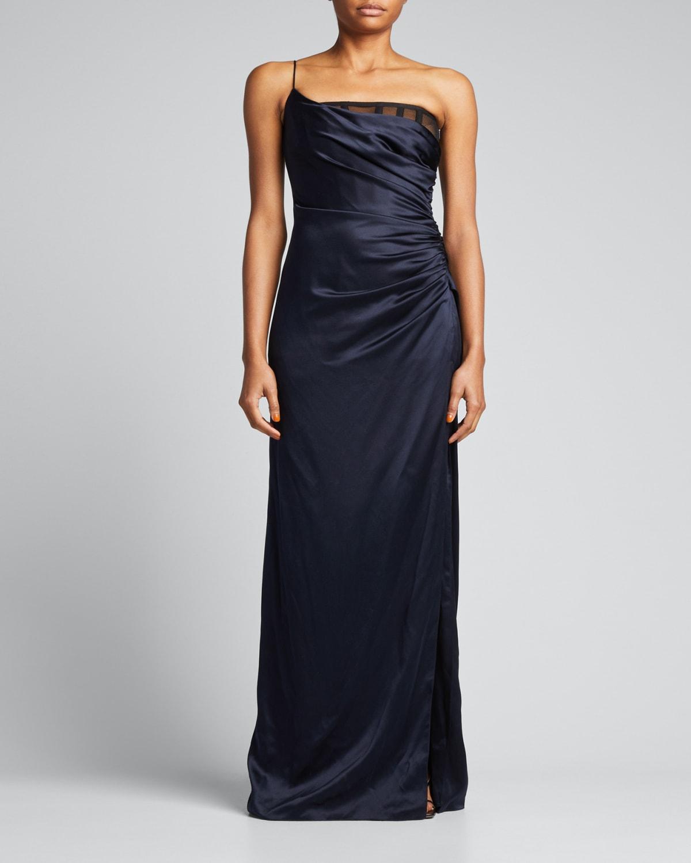 Asymmetric One-Shoulder Draped Silk Gown