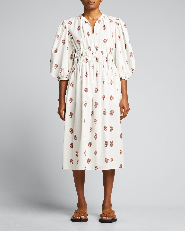 Georgina Puff-Sleeve Midi Dress