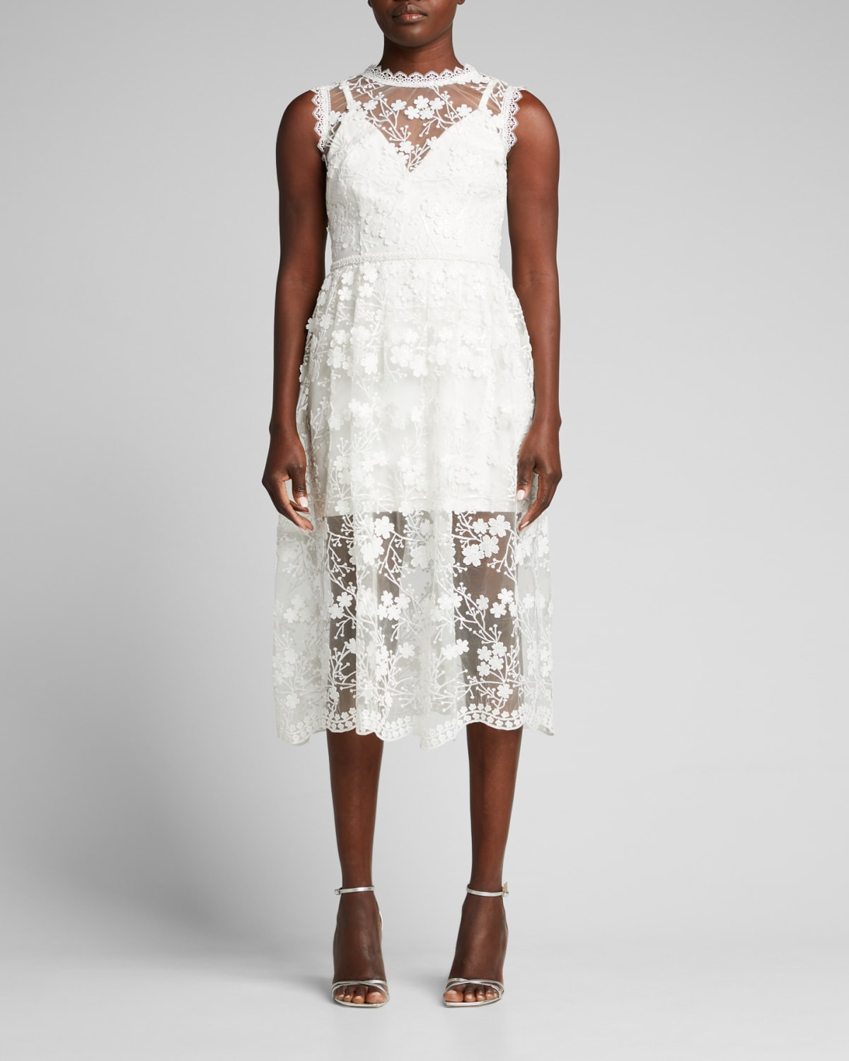 Poppy Floral-Embroidered Illusion Dress