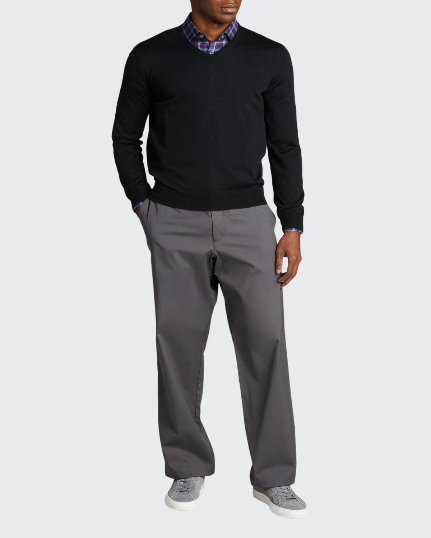 Men's Solid Cashmere V-Neck Sweater