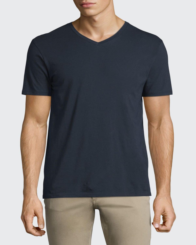 Short-Sleeve V-Neck Jersey T-Shirt, Gray