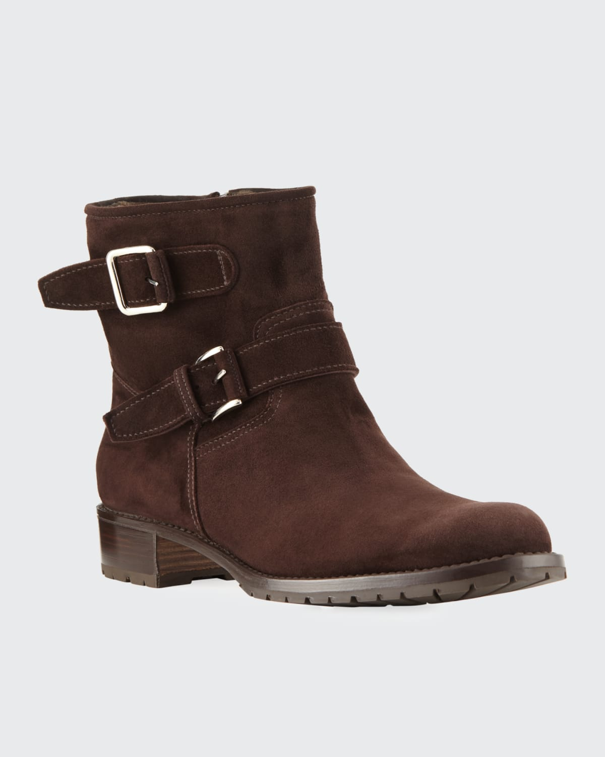 Two-Strap Suede Moto Boots
