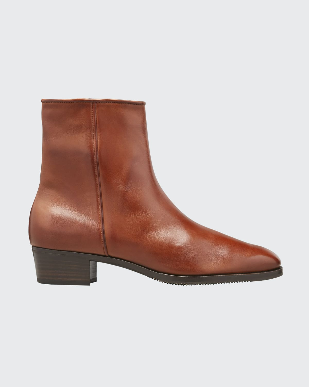 Low-Heel Leather Zip Ankle Boot