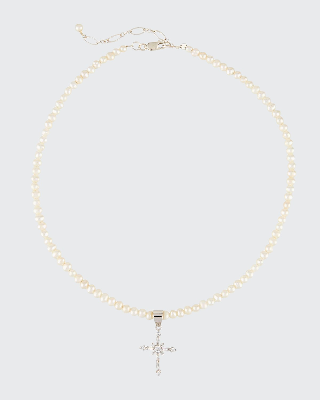 Girls' Pearl Necklace w/ Silver Cross