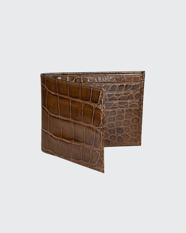 Slim Alligator Bi-Fold Monogram Wallet