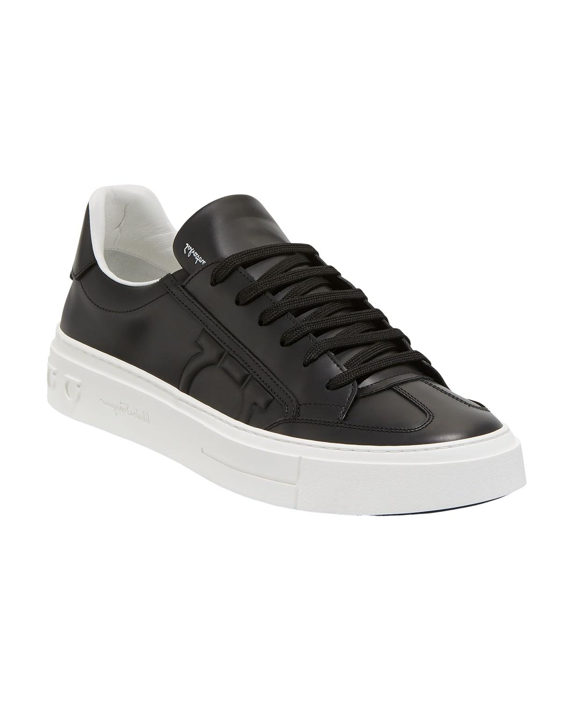 Men's Borg Leather Low-Top Sneakers, Black