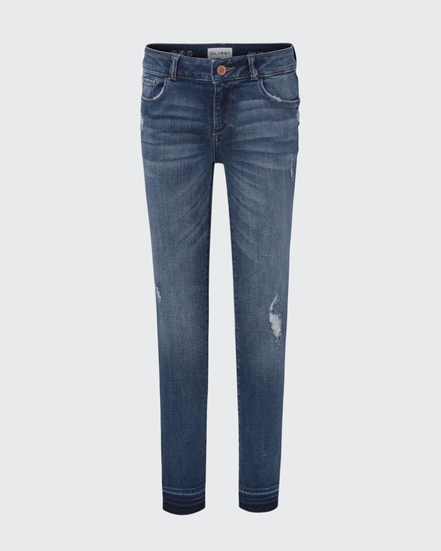 Girls' Medium Wash Distressed Skinny Jeans w/ Double Cross Hem