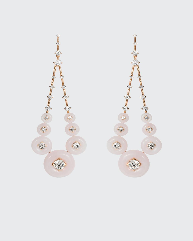 Gravity 18k Rose Gold Pink Opal White Diamond Earrings