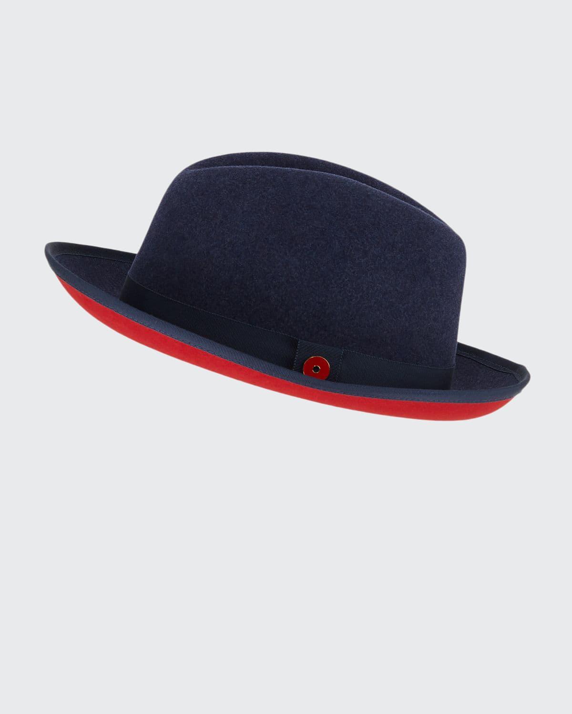 Men's King Red-Brim Wool Fedora Hat