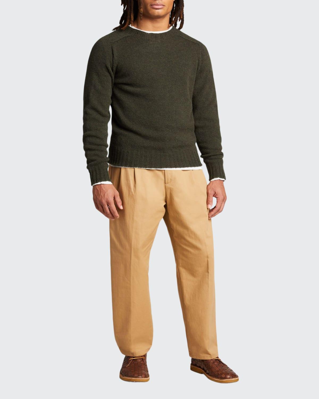 Men's Pleated Straight-Leg Crop Trousers