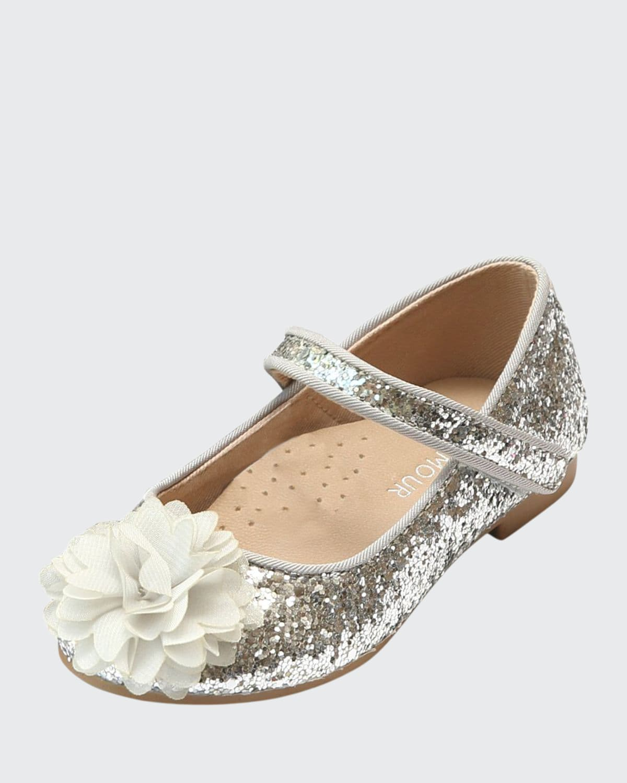 Alice Sparkly Glitter Flower Flats