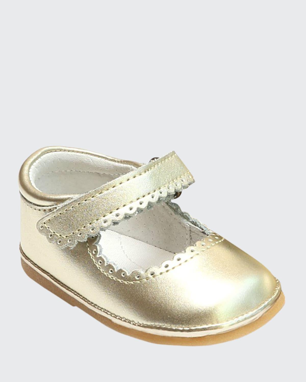 Cara Scalloped Metallic Leather Mary Jane