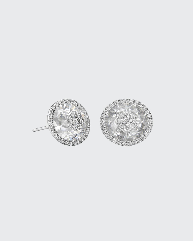 18k White Gold 10mm Halo Stud Earrings w/ Diamonds