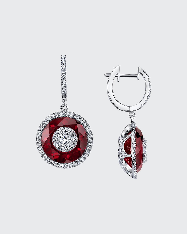 18k White Gold 13mm Halo Drop Earrings w/ Diamonds