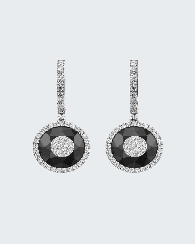 18k White Gold 10mm Halo Drop Earrings w/ Diamonds