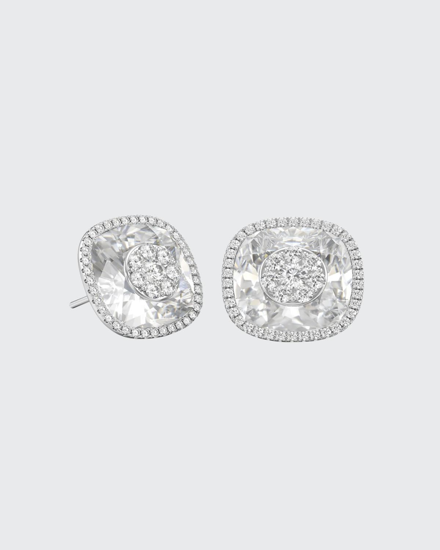 18k White Gold 13mm Cushion-Cut Stud Earrings w/ Diamonds