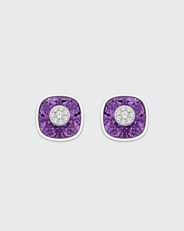 18k White Gold 10mm Cushion Stud Earrings w/ Diamonds