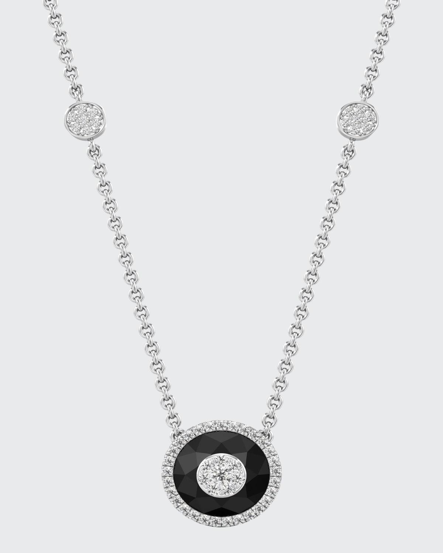 18k White Gold 10mm Halo Pendant Necklace w/ Diamonds