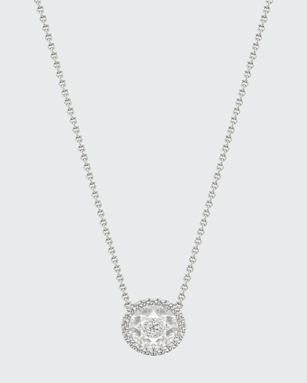 18k White Gold 7mm Halo Pendant Necklace w/ Diamonds