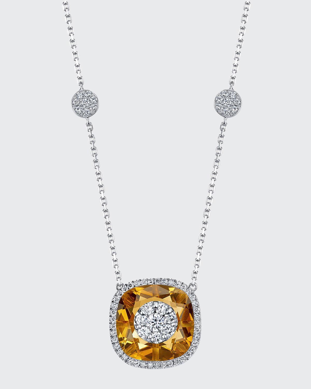 18k White Gold 13mm Cushion-Cut Necklace w/ Diamonds