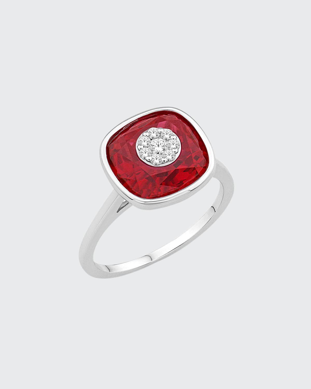 18k White Gold 10mm Cushion Ring w/ Diamonds