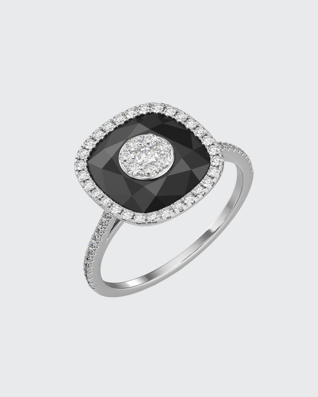 18k White Gold 10mm Cushion-Cut Ring w/ Diamonds