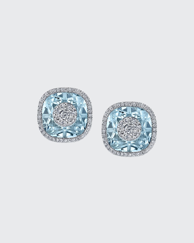 18k White Gold 10mm Cushion-Cut Stud Earrings w/ Diamonds