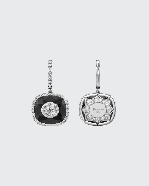 18k White Gold 13mm Cushion-Cut Drop Earrings w/ Diamonds
