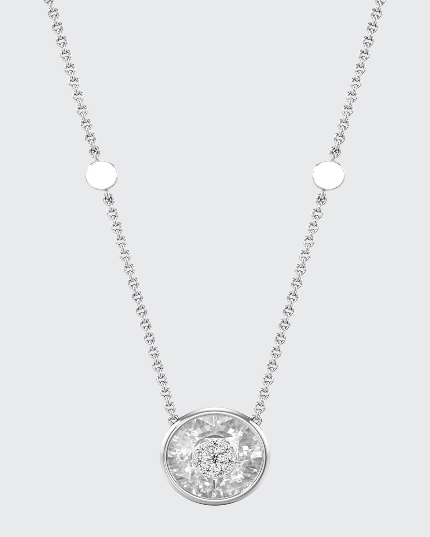 18k White Gold 10mm Round Pendant Necklace w/ Diamonds