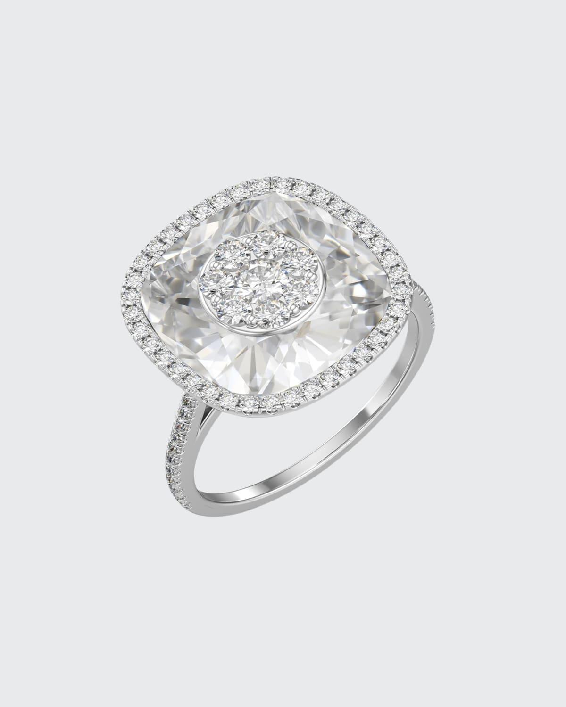 18k White Gold 13mm Cushion-Cut Ring w/ Diamonds