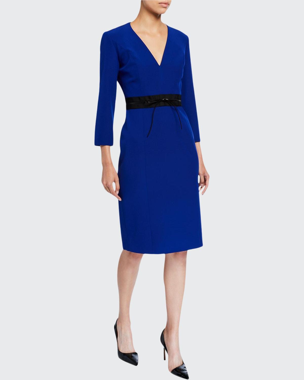 Silk V-Neck Bodycon Dress