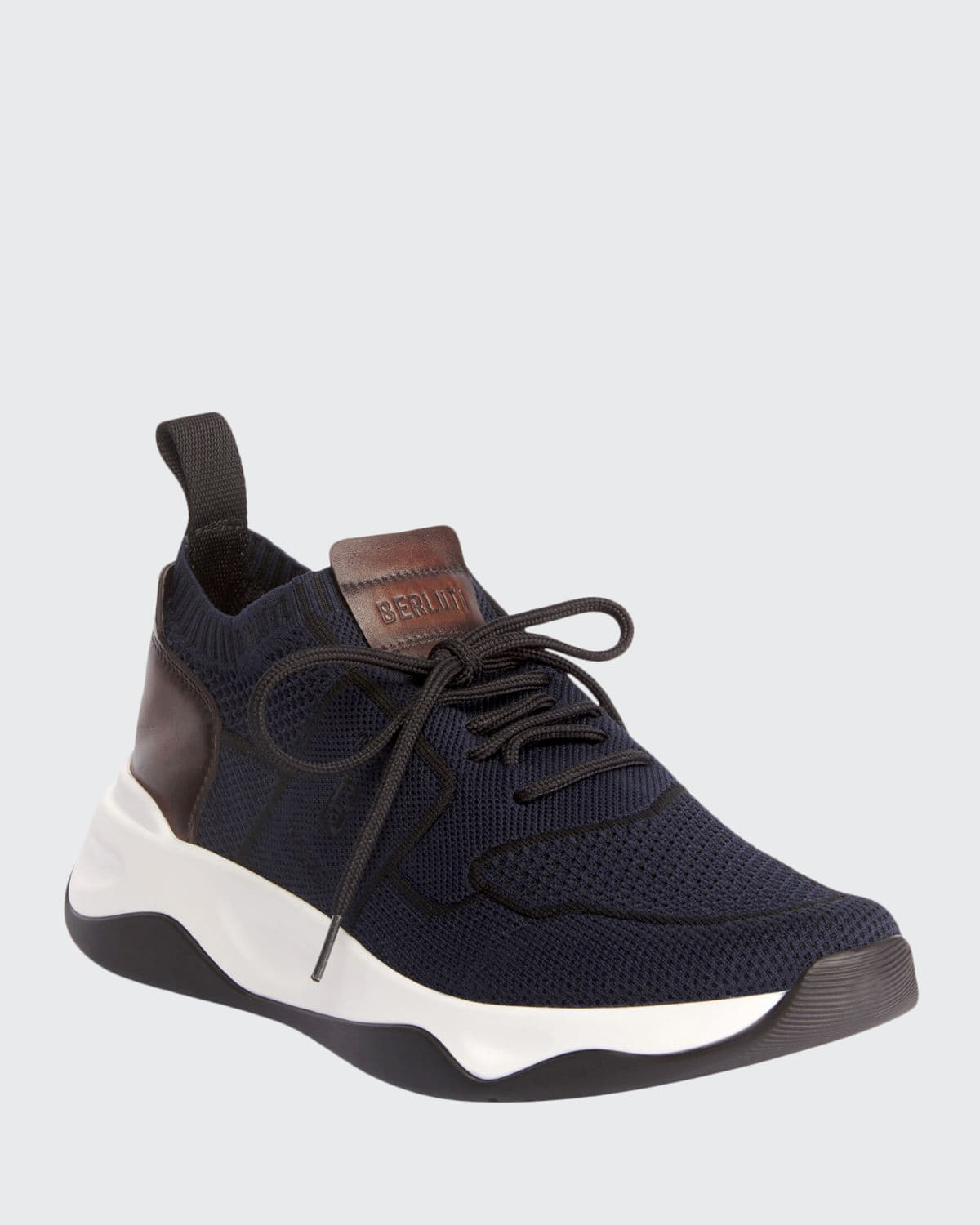 Men's Shadow Knit Sneaker with Leather Details
