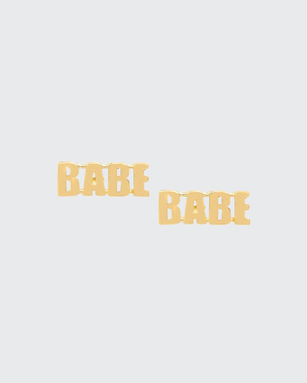 14k Gold BABE Post Earrings