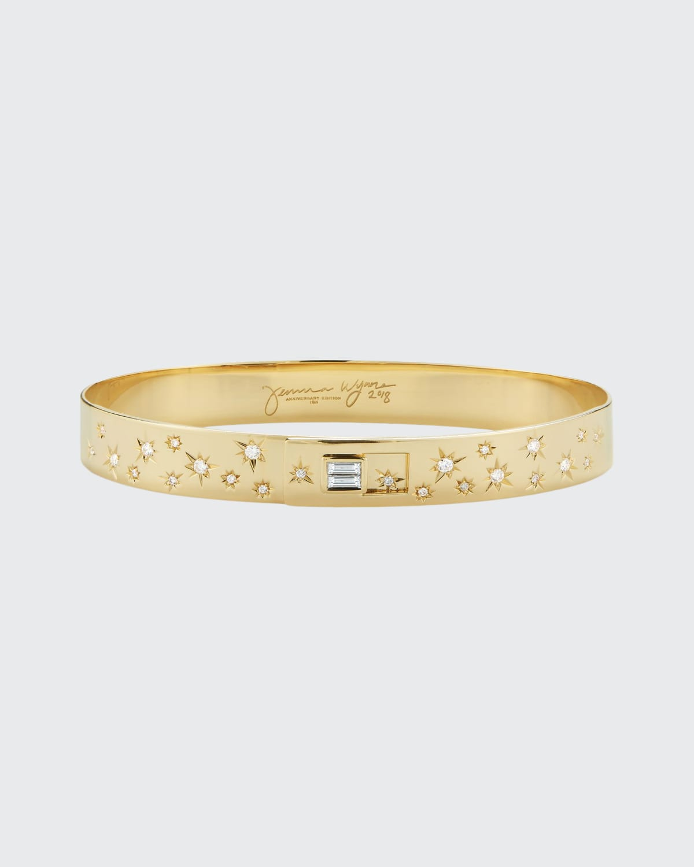 Gold 8mm Limited Edition Anniversary Cuff w/ Star Set Diamond (G/H SI) Diamond Bag Close (F/G Vs) 0.40 ct. Diamond