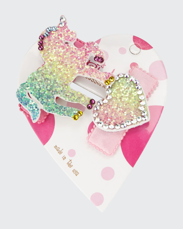 Heartuni Glitter Unicorn & Heart Hair Clip Set