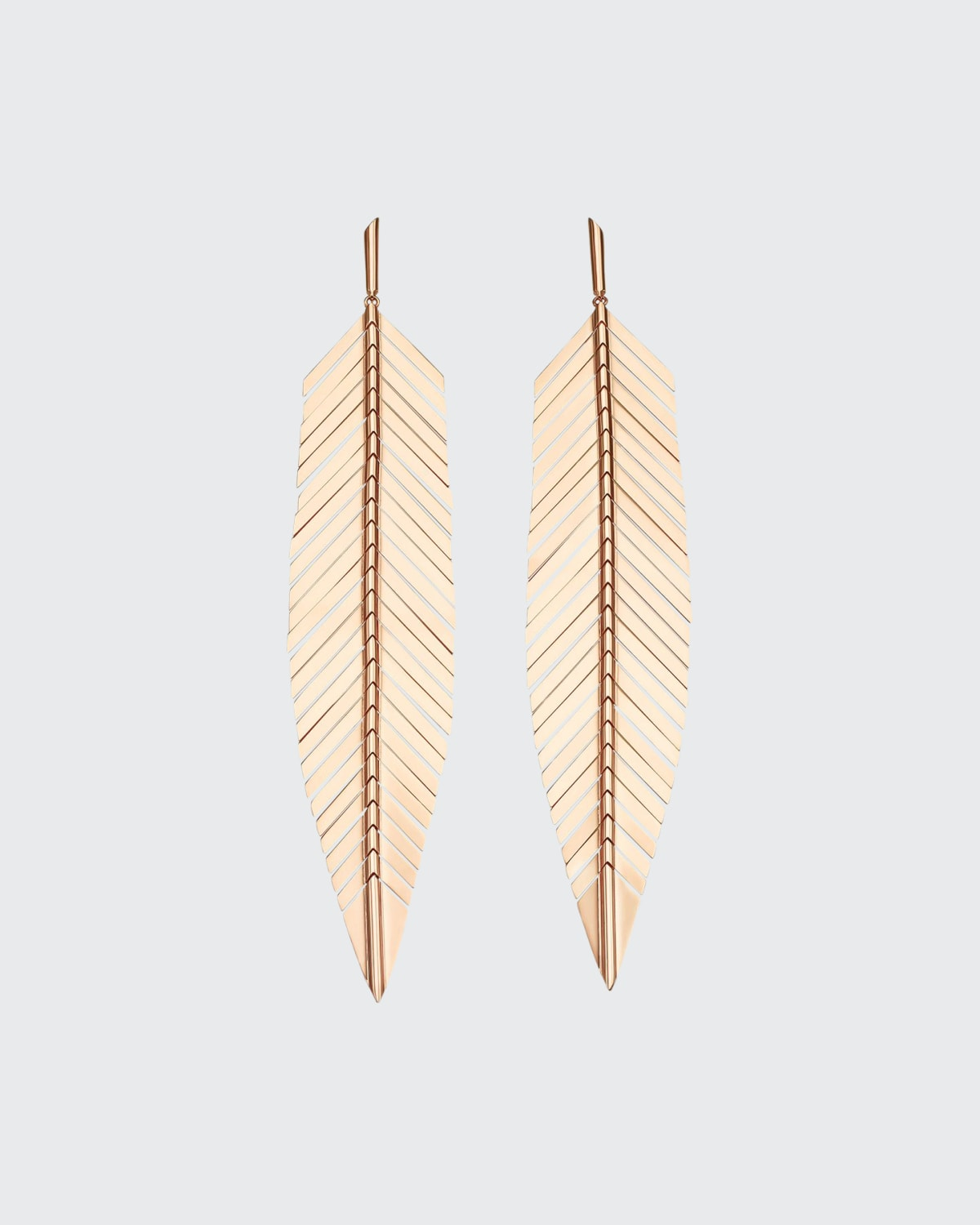 18k Rose Gold Large Feather Drop Earrings
