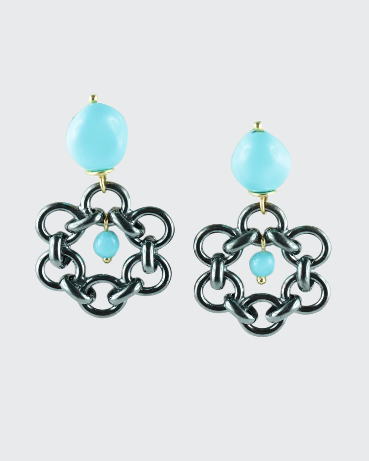 Black Silver Flat Link Circles Earrings w/ Turquoise Paste Top Center Gold