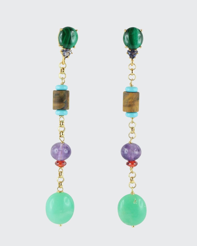 Long Earrings Gold Chain w/ Malachite Amethyst Turquoise Paste Tiger Eye Zircon Chrysoprase