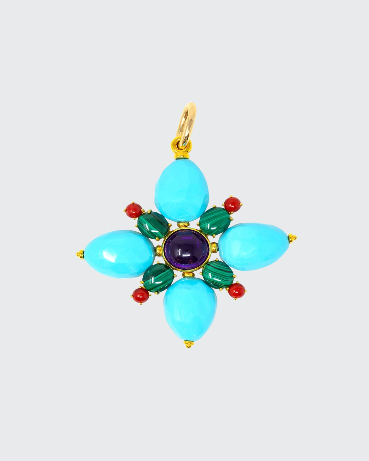 Turquoise Paste Flower Charm w/ Amethyst Malachite Red Coral Paste Gold On Purple Silk Cord