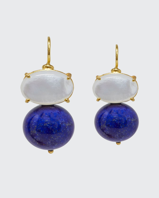 Earrings Monachina Stone Boule Mother Of Pearl Top Lapis Lazuli Bottom Gold