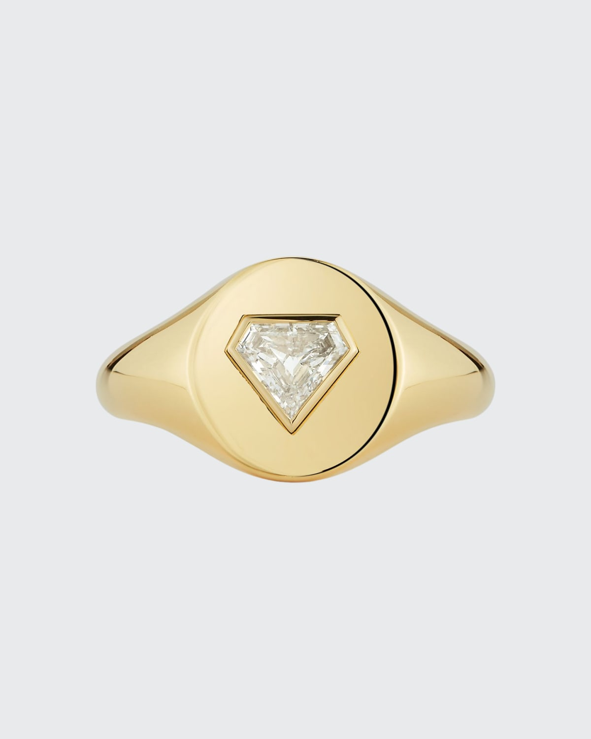 Gold One Of A Kind Prive Signet Ring With Bezel Set Shield Diamond 0.42 ct. Diamond