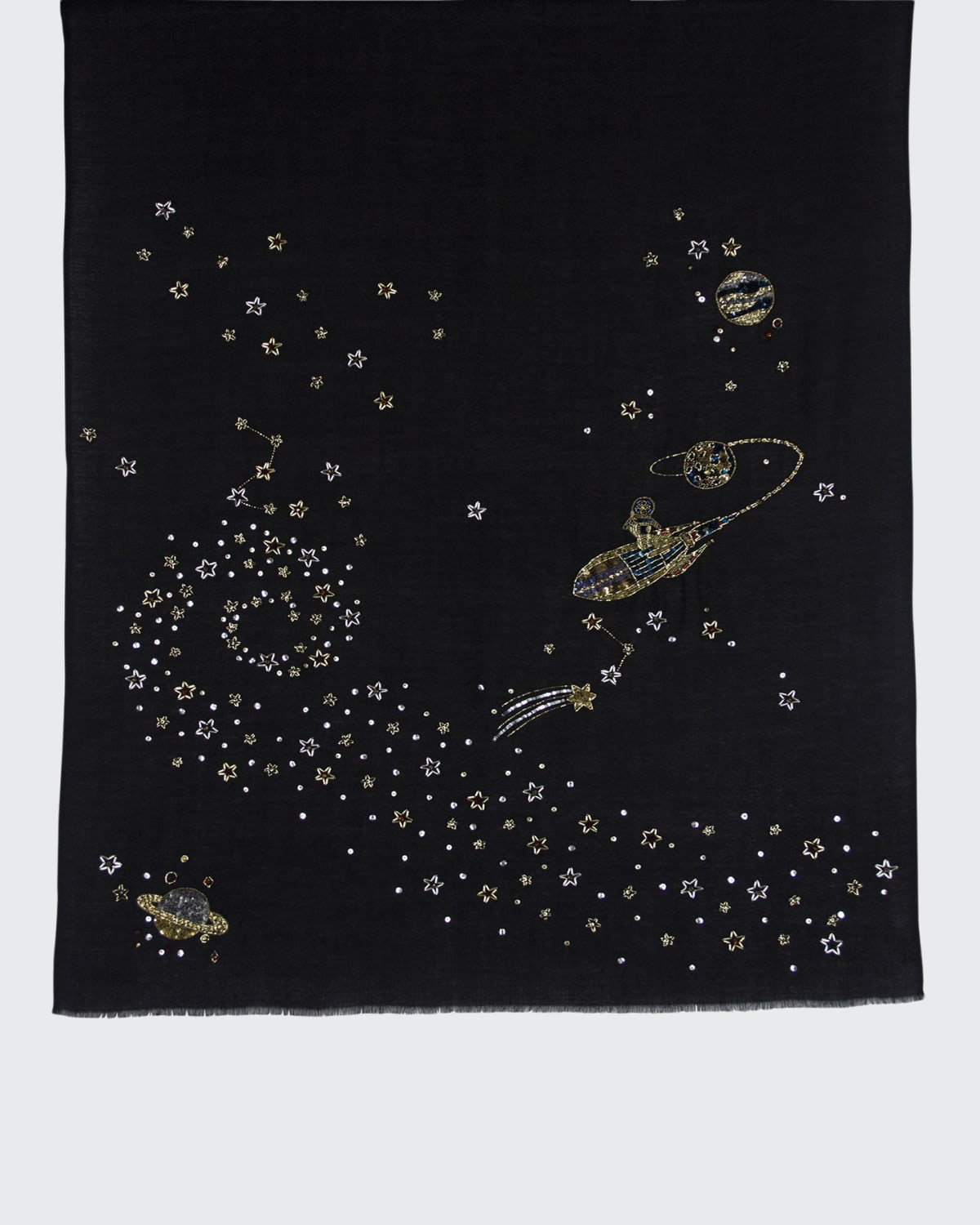 Cosmos Embroidered Cashmere Scarf