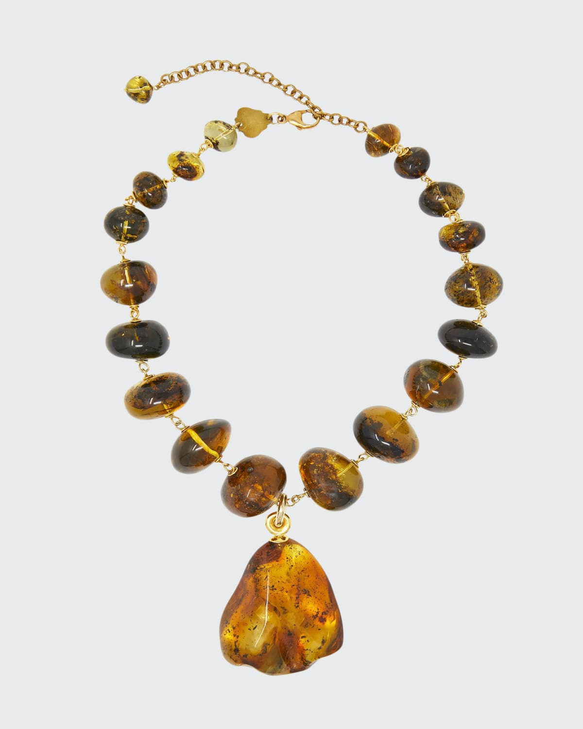 Necklace Rosary Amber Yellow Gold Workmanship In Vermeil