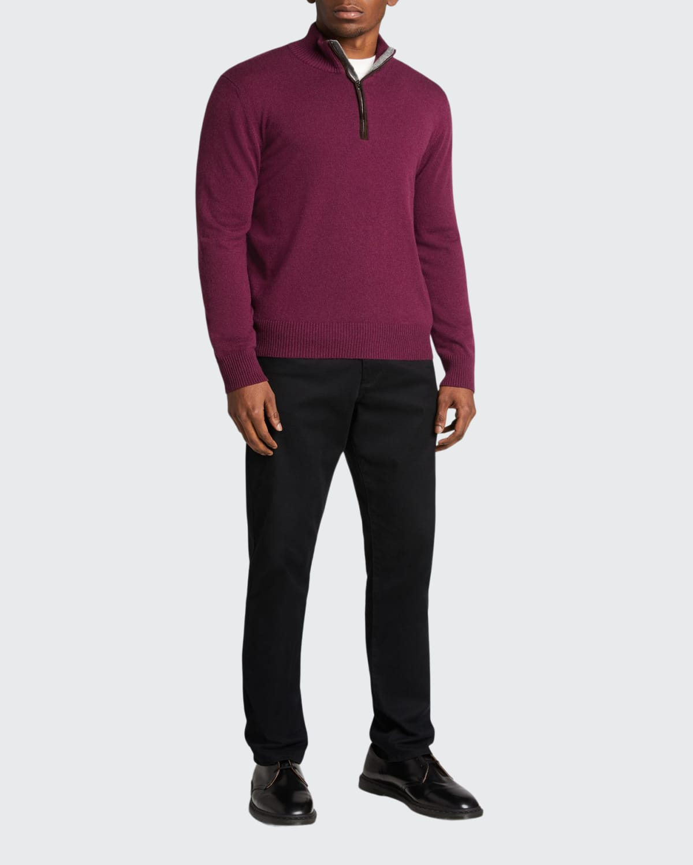 Men's 1/2-Zip Mock-Neck Cashmere Sweater w/ Suede Trim
