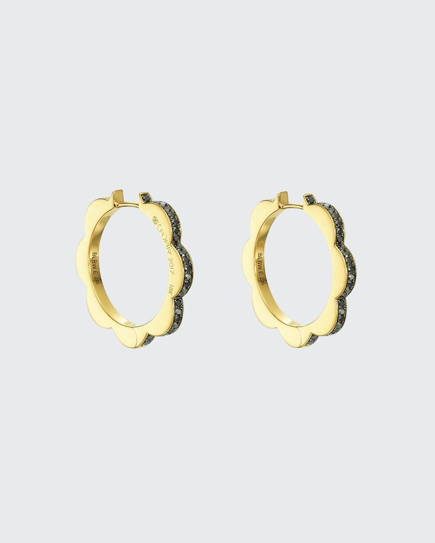 Black and White Diamond Triplet Hoop Earrings