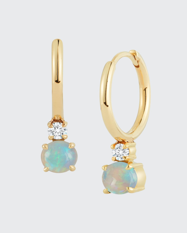 Opal Diamond Drop 18K Gold Prive Petite Gold Huggies 040 ct. Op 0.80 ct. Diamond