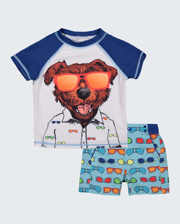 Boy's Dog Print Short-Sleeve Rash Guard w/ Matching Swim Shorts