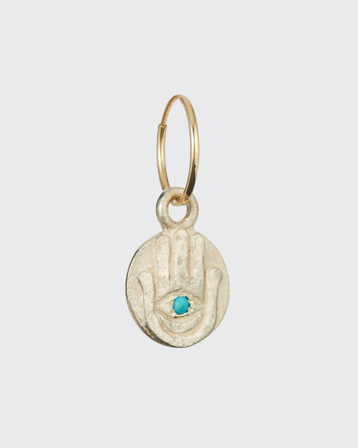 Hamsa Coin Earring with Turquoise
