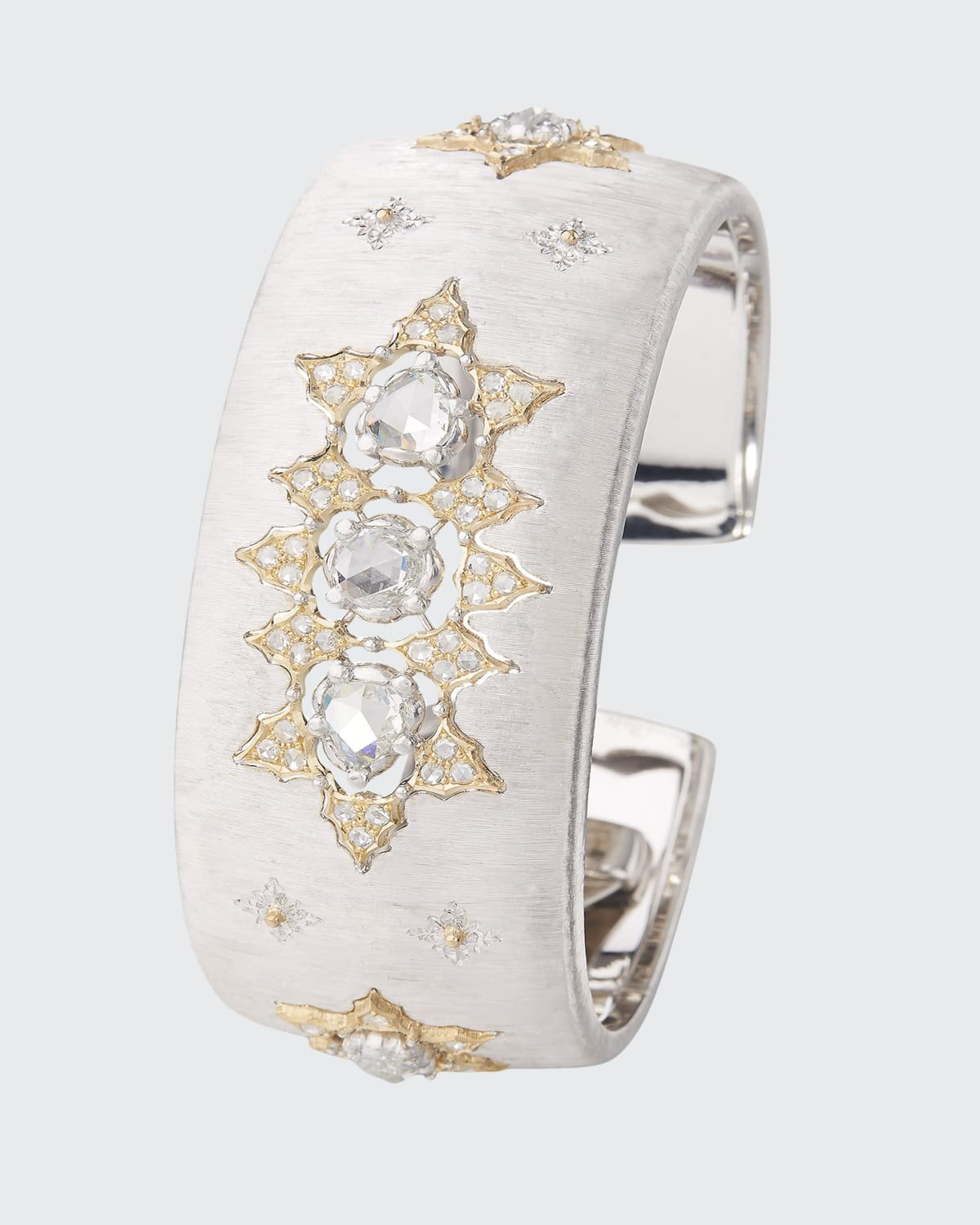 Limited Edition Cuff Bracelet in 18k White and Rose Gold with Rose Cut Diamonds
