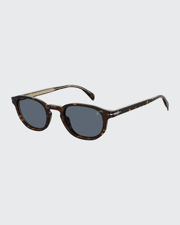 Men's Round Havana Acetate Sunglasses